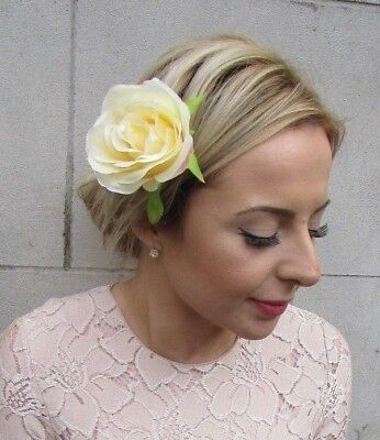 Double Yellow Rose Flower Hair Clip Fascinator Bridesmaid Floral Wedding 5773