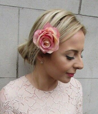 Nude Blush Pink Rose Flower Hair Clip Fascinator Bridesmaid Races Wedding 5192