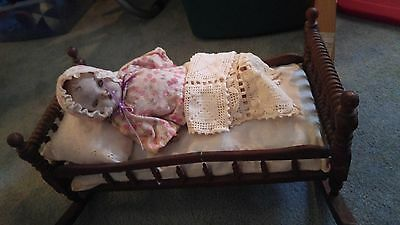 Antique Late Victorian Wooden Doll Cradle With Composition Baby Doll