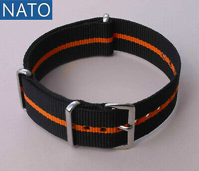 BRACELET MONTRE NATO 18mm (noir orange) orologio cinturino subacqueo watch strap