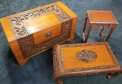 3 - Piece Lot of Antique, Chinese, Wood Furniture (Trunk, Tea & End Table(s))