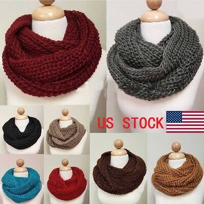 Women's Winter Warm Infinity Circle Cable Knit Cowl Neck Thick Scarf Shawl Wrap