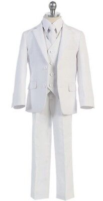 Boy White Suit/Tuxedo Toddler Youth Party/Baptism/Wedding 5 piece (Sizes ..1-20)