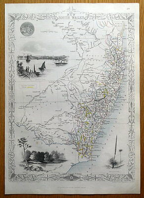 NEW SOUTH WALES, AUSTRALIA, RAPKIN & TALLIS original antique map c1850