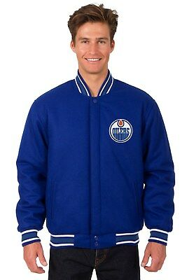 NHL Edmonton Oilers  JH Design Wool & Reversible Jacket With 2 Embroidered Logos