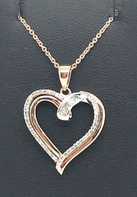 Sterling Silver 14k Rose Gold Tone Baguette Diamond Elegant Love Heart Necklace