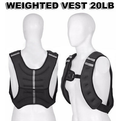 Weighted Vest Home Gym Running Fitness Weight loss Strength Jacket 20 lbs US