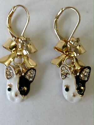 Small French Bulldog Earrings With Stones
