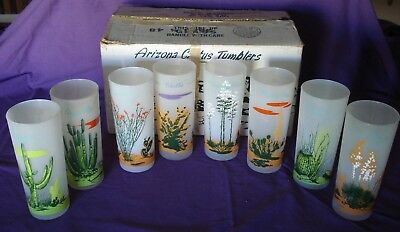 Blakely Gas & Oil  Arizona Cactus Set of 8 Frosted Glasses in the Original Box