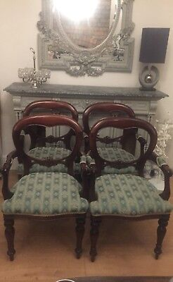 Set Of 4 Dining Chairs, Ballon Back Carvers