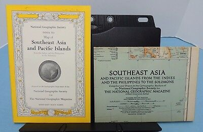 INDEX booklet to 1944 Map of Southeast ASIA + PACIFIC Is. ~ National Geographic