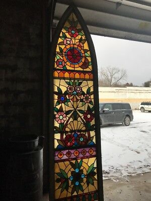Mark 3Antique Gothic Arch Stainglass Landing Window Floral 31.5 X 10'Five