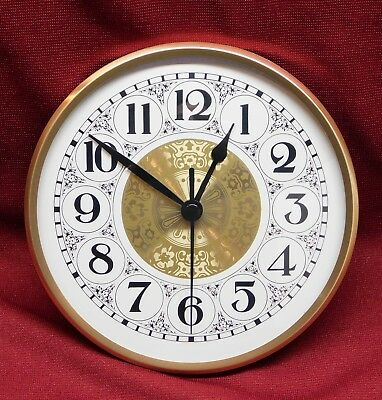 "Complete Clock Insert Fit Up Movement 6"" Diameter Fancy White Arabic Dial WFA6.0"