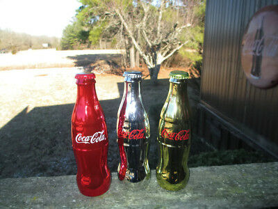 Coca-Cola Set of 3 Metallic Bottles Gold Red & Silver Collectible Contour Bottle