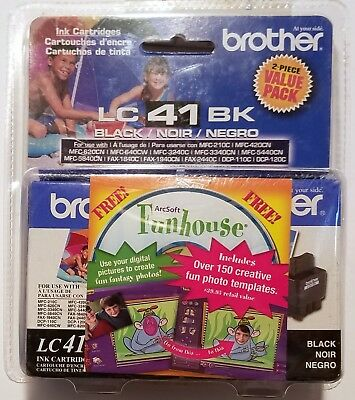 2 Genuine Brother Cartridge LC 41 BK Compatible models in description + Bonus