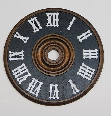 """Cuckoo Clock Dial 2 3/8"""" Diameter Brown Wood With White Numerals NEW 60 mm"""