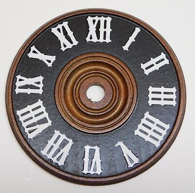 """Cuckoo Clock Dial 3 1/2"""" Diameter Brown Wood With White Numerals NEW 90 mm"""