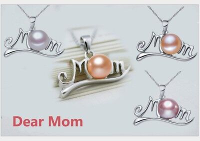 "925 Sterling Silver Freshwater Pearl MOM Pendant Necklace 18"" Chain Gift Box"