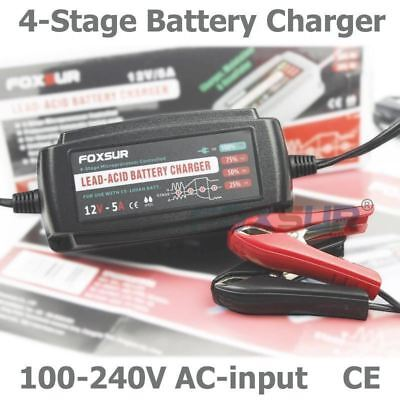 FOXSUR 12V 5A Automatic Smart Battery Charger, Maintainer & Desulfator for Lead