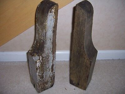 Pair of Antique Wooden Corbels Weathered Chippy Paint Architectural Salvage