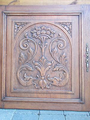 French Antique Carved Oak Wood Architectural Door Panel - Gothic Chimera Griffin