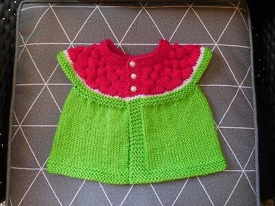 Sweet Hand Knitted Watermelon Baby Cardigan Newborn/3 months size.