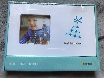 """First Birthday Boy Photo Frame by Pearhead Holds a 3.5"""" x 3.5"""" Picture NEW"""