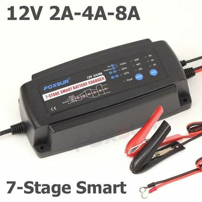 FOXSUR 12V 2A 4A 8A 7-stage smart Battery Charger, GEL WET AGM  Battery type & C