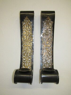 """Pair Large 24.5"""" Antique Bronze Scroll Wall Sconces Candle Pillar Holders Bombay"""
