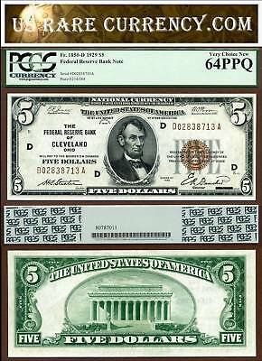 1929 $5 Federal Reserve Bank Note PCGS Very Choice New 64PPQ Cleveland Ohio