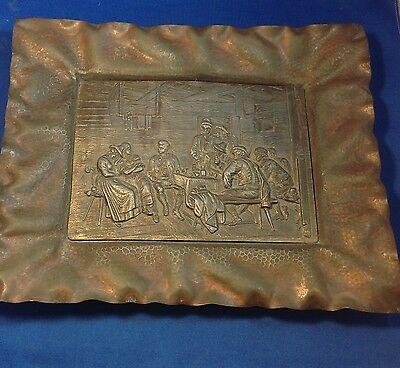 Arts & Crafts Movement Metal Tray Or Plaque, Copper ?, Medium High Relief Design