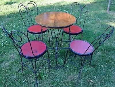 Vintage Ice Cream Parlor Set Twisted Iron Chairs Oak Top Table