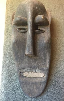 Vintage Authentic Hand carved Wooden Mask Tribal Art Africa 1970s