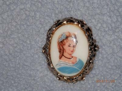 PORTRAIT on PORCELAINE - BLONDE LADY WEARING BLUE  - PIN -  BROOCH