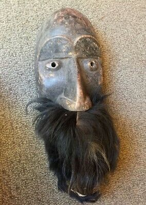 Vintage Authentic small hand carved wooden Mask beard Tribal Art Africa 1970