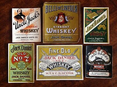 Vintage Jack Daniels Labels - Set of 6 Paper Reproductions from 1970's