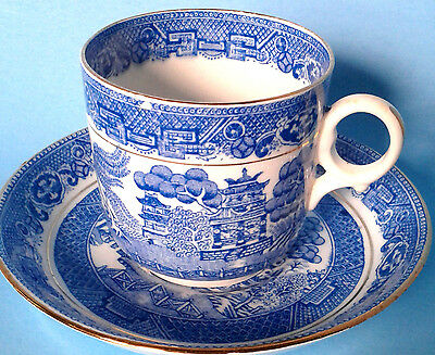 SAMUEL RADFORD MANDARIN BLUE WILLOW Demitasse Cup and Saucer Antique c.1928