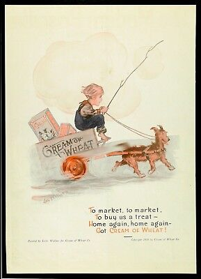 1916 CREAM OF WHEAT Cereal TO MARKET Dog Pulling Boy in Wagon WALLACE Art Vtg AD