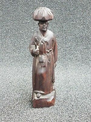 """Vintage Wood Hand Carved Oriental Man with Staff - 8"""""""