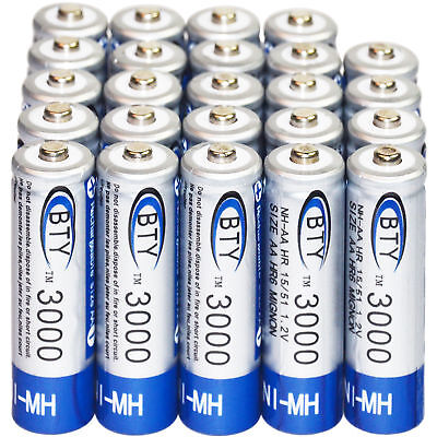 24pcs AA 3000mAh 1.2V Ni-MH Rechargeable Batteries BTY For MP3 RC Toys Camera US