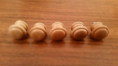 Lot of 5 Vintage Mid Century Round Wood Drawer Cabinet Knobs Pulls Handles Rings