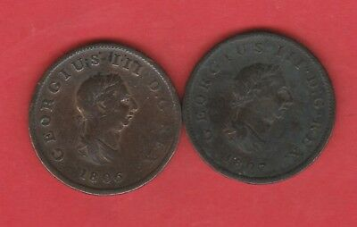 Great Britain 1/2 Half Penny George Iii 1806 And 1807 Copper Coins