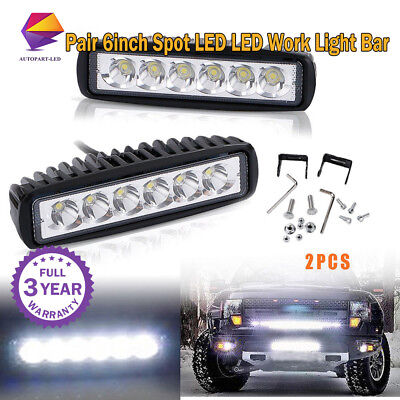 2pcs 6inch LED Work Light Bar 4WD Offroad Spot Fog Driving ATV SUV Driving Lamp