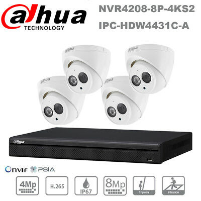 Dahua HD 4MP 8 Channel Built-in MIC Home Security CCTV POE IP Camera System