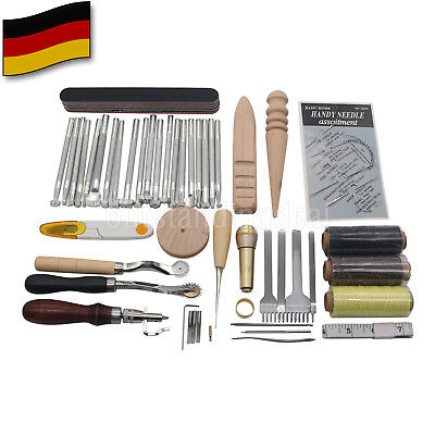 59p Leather Craft Tools Kit Set For Hand Stitching Sewing Punch Carving Stamp DE