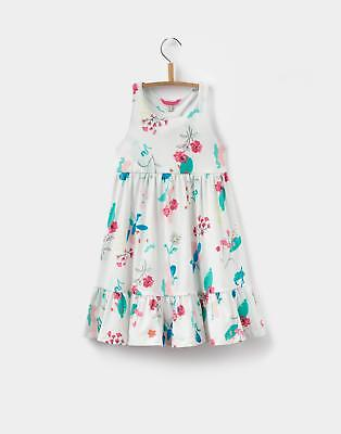 Joules Girls Juno Midi Dress in Machine Washable Cotton in Botanical Floral