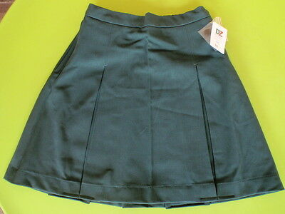 BULK x 3 BNWT GIRLS SIZE 22  SCHOOL WEAR - BOTTLE GREEN SKIRT - WAIST 90cm DZ