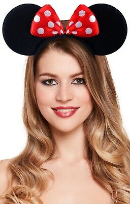 Ladies Pretty Mouse Ears With Bow Fancy Dress Costume Hairband Headband Animal