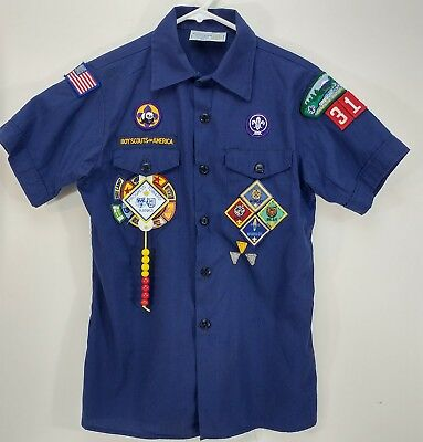 Official Youth Shirt Blue Boys Scout Patches Short Sleeve Size L 14-16 USA Z1