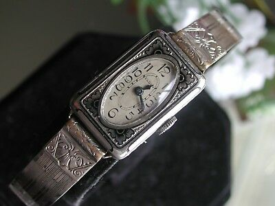 1930's Ladies Art Deco 14K Black Enamel Elgin Watch~ Deco Bangle Band ~ Runs